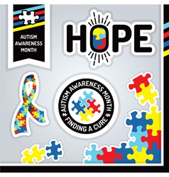 Autism Awareness Month Design Elements vector