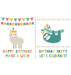 birthday greeting cards set cute sloth and lama vector image