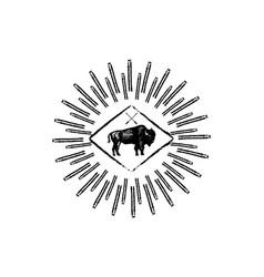 Bison retro logo icon vector