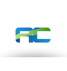 blue green rc r c alphabet letter logo vector image