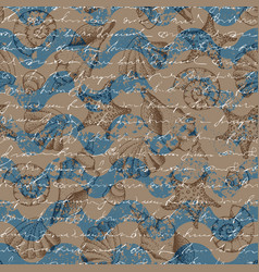 blue grunge waves pattern and hand draw in marine vector image