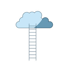 blue shading silhouette of ladder to cloud vector image