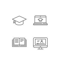 Book graduation cap and video tutorial icons vector