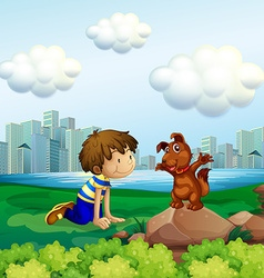 Boy and dog in the city park vector