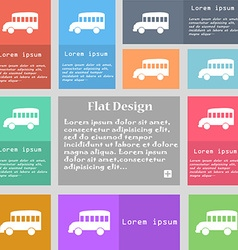 Bus icon sign Set of multicolored buttons with vector image