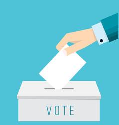 Business hand putting a ballot in a ballot box vector