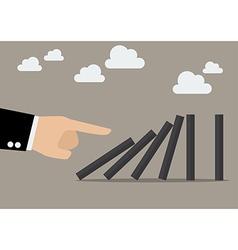 Businessman hand pushing domino tiles vector