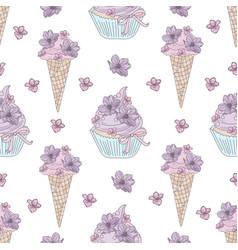 cake flower wedding seamless pattern vector image