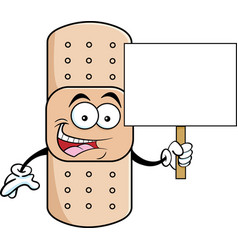 Cartoon bandage holding a sign vector