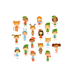 cartoon collection little children in different vector image