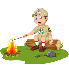 Cartoon scout roasting marshmallow vector
