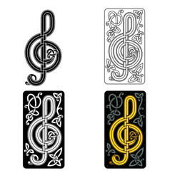 Celtic music note with curls stylish music club vector