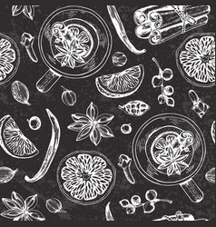 Chalk drawing seamless pattern with mulled wine vector