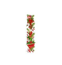 Christmas floral tree letter I vector