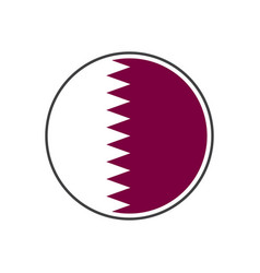 circle qatar flag with icon isolated on white vector image
