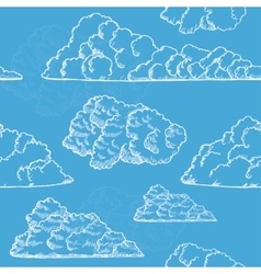 Clouds Hand Draw Sketch Background Pattern vector