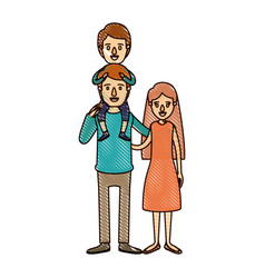 color crayon stripe cartoon family mother and vector image