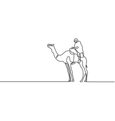 continuous one line drawing camel vector image