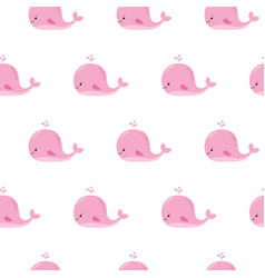 cute background with cartoon pink whales kawaii vector image