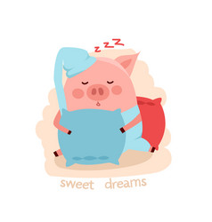cute cartoon sleeping pig hugging the pillow vector image