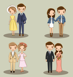 Cute couple character collection for wedding vector