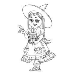 Cute girl in witch costume holding a big jar with vector