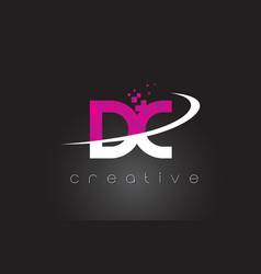 Dc d c creative letters design with white pink vector
