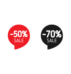 discount banner sale 50 and 70 sale red and black vector image
