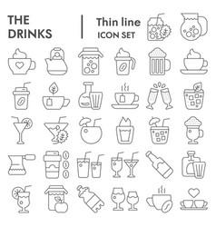 drinks thin line icon set beverage symbols vector image