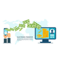 electronic transfer money vector image