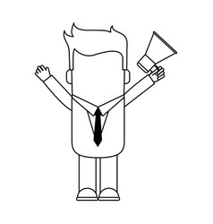 Faceless businessman avatar holding megaphone icon vector
