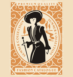 fashion catalogue cover with elegant lady vector image