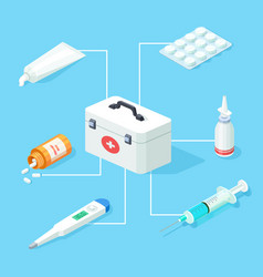 first aid kit tools isometric concept vector image