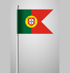 Flag of portugal national flag on flagpole vector