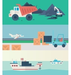 Flat banners set of logistic process vector image