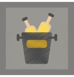 flat shading style icon bottle bucket vector image