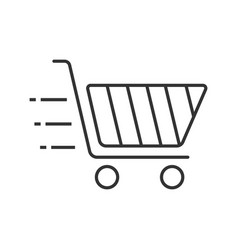 flying shopping cart linear icon vector image