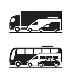 Freight and passenger transport on the road vector