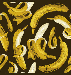 Fruit seamless pattern with ripe yellow bananas vector
