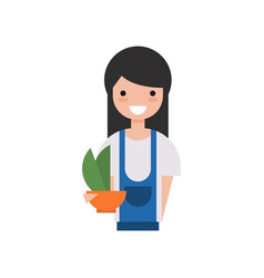 girl gardener character young woman holding vector image
