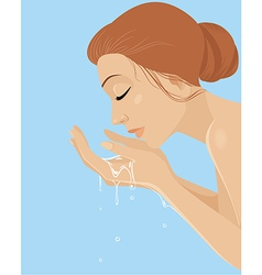 girl washing her face vector image