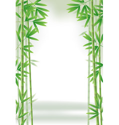 green bamboo frame with stems and leaves vector image