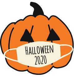 halloween 2020 pumpkin wearing a face mask vector image