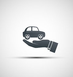 Hand holds the car vector image