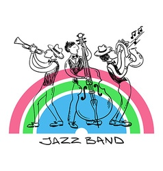 Jazz Trio Of Saxophone Trumpet And Contrabss vector image
