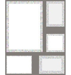 Light color pixel mosaic page border template set vector