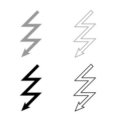 lightning icon set grey black color vector image