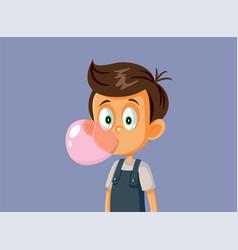 Little boy chewing bubble gum vector
