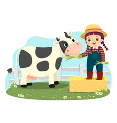 Little girl feeding her cow with green gra vector