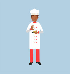 male chef cook character in uniform sprinkling vector image
